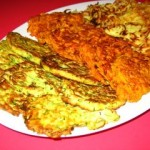 Ruth\'s trio of zuchini, sweet and white potato latkes. Photo by Ruth, Once Upon a Feast.