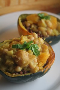 curried squash stew in acorn squash bowls