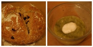 soda bread and split pea soup