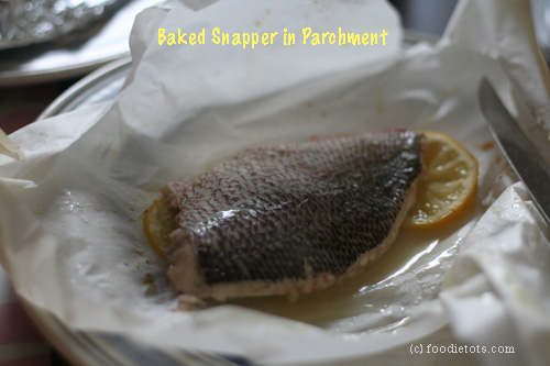 baked snapper in parchment