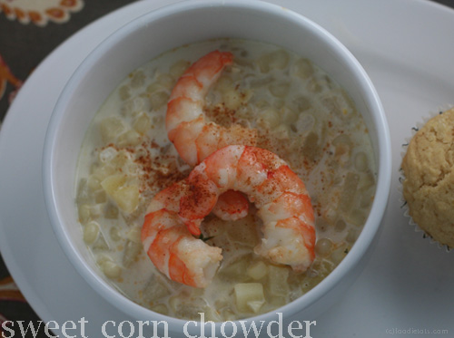 sweet corn chowder with shrimp