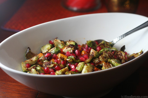 pomegranate brussels sprouts with butternut squash