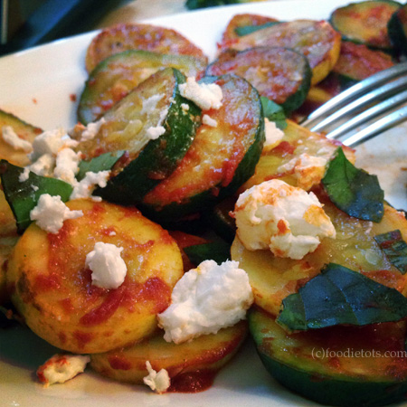 Braised Summer Squash with Chevre | FoodieTots.com
