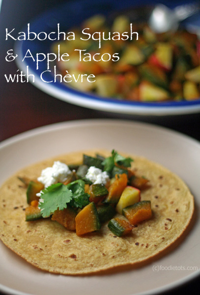 Kabocha Squash Apple Tacos with Chevre by FoodieTots