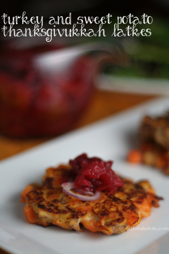 turkey sweet potato thanksgivukkah latkes | foodietots.com