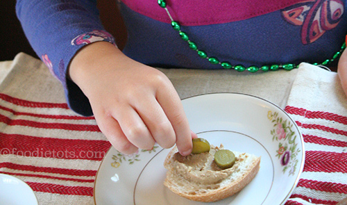 chicken liver paté with cornichons | foodietots.com