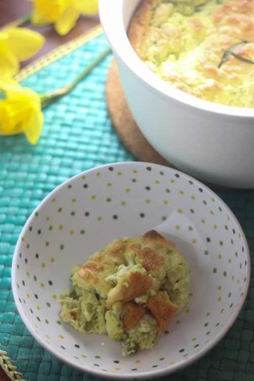 spring pea and goat cheese souffle recipe | foodietots.com