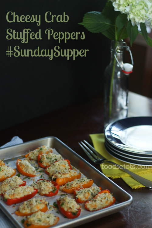 cheesy crab stuffed peppers #sundaysupper | foodietots.com