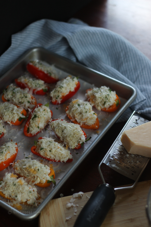 asiago cheese topped stuffed peppers | foodietots.com