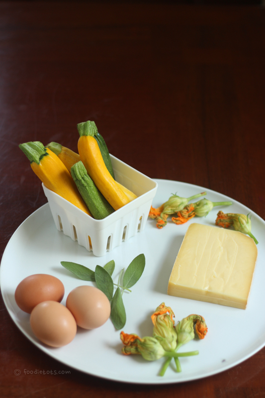 squash blossom frittata ingredients | foodietots.com